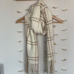 White and tan scarf